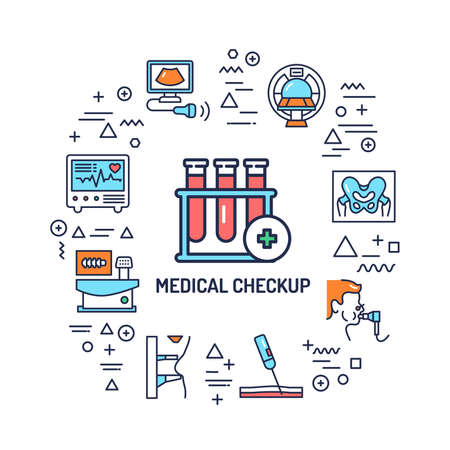 Medical checkup web banner. Infographics with linear icons on white background. Creative idea concept. Isolated outline color illustration. Vektoros illusztráció