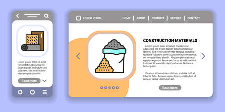 Construction materials web banner and mobile app kit. Outline vector illustration. Creative idea concept