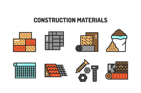 Construction materials color line icons set. Pictograms for web page, mobile app, promo. Editable stroke.