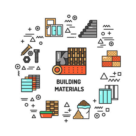 Construction materials web banner. Infographics with linear icons on white background. Creative idea concept. Isolated outline color illustration. Illustration