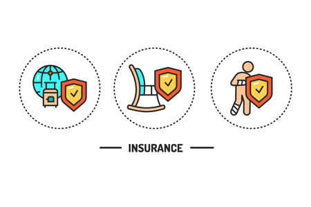Insurance color line icons concept. Pictograms for web page, mobile app, promo. Editable stroke. Illustration