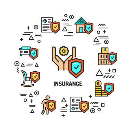 Insurance web banner. Infographics with linear icons on white background. Creative idea concept. Isolated outline color illustration.