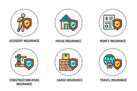 Insurance color line icons set. Pictograms for web page, mobile app, promo. Editable stroke.