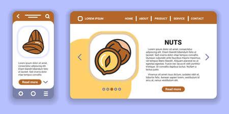 Nuts web banner and mobile app kit. Outline vector illustration. Creative idea concept. Illustration