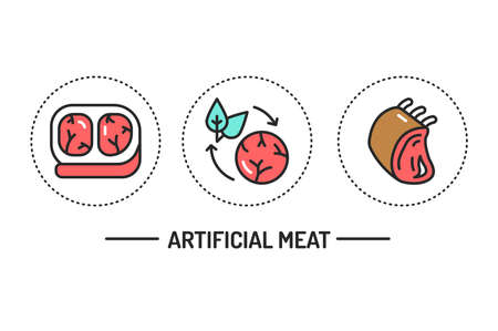Artificial meat color line icons concept. Isolated vector element. Outline pictograms for web page, mobile app. Illustration
