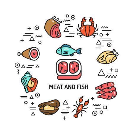 Meat and fish web banner. Infographics with linear icons on white background. Creative idea concept. Isolated outline color illustration.