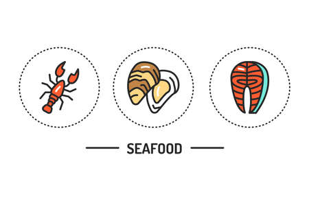 Seafood color line icons set. Isolated vector element. Outline pictograms for web page, mobile app.