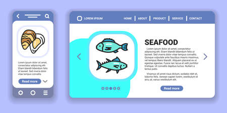 Seafood web banner and mobile app kit. Outline vector illustration. Creative idea concept.