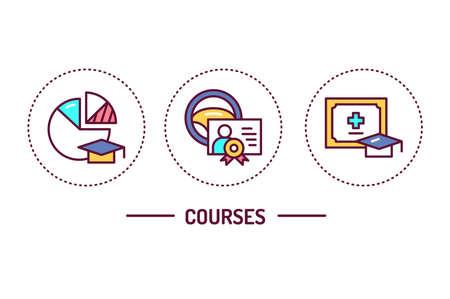 Courses color line icons concept. Outline pictograms for web page, mobile app, promo