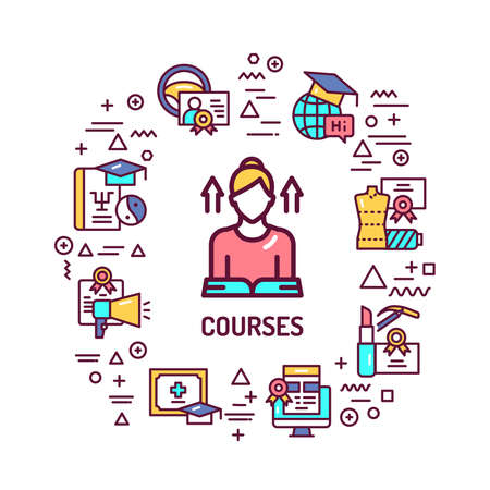 Courses web banner. Infographics with linear icons on white background. Creative idea concept. Isolated outline color illustration
