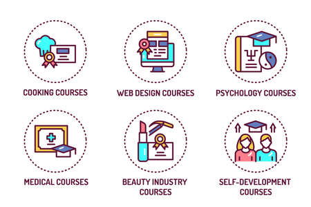 Courses training color line icons set. Outline pictograms for web page, mobile app, promo.