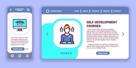 Self-development courses web banner and mobile app kit. Outline vector illustration. Creative idea concept.