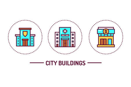 City buildings color line icons concept. Isolated vector element. Outline pictograms for web page, mobile app, promo.
