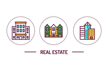 Real estate color line icons concept. Isolated vector element. Outline pictograms for web page, mobile app, promo
