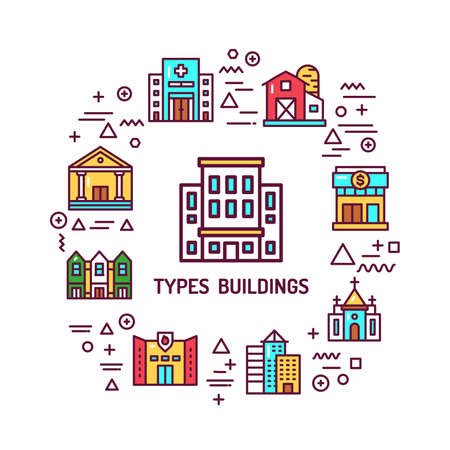 Types buildings web banner. Infographics with linear icons on white background. Creative idea concept. Isolated outline color illustration