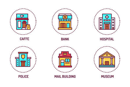 City buildings color line icons set. Isolated vector element. Outline pictograms for web page, mobile app, promo