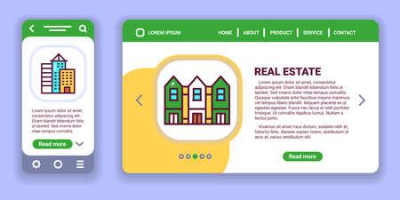 Real estate web banner and mobile app kit. Outline vector illustration. Creative idea concept.
