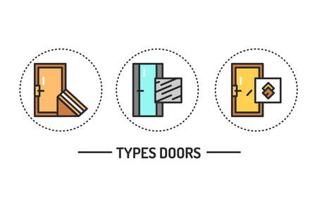 Types of doors color line icons set. Material steel. Isolated vector element. Outline pictograms for web page, mobile app, promo.