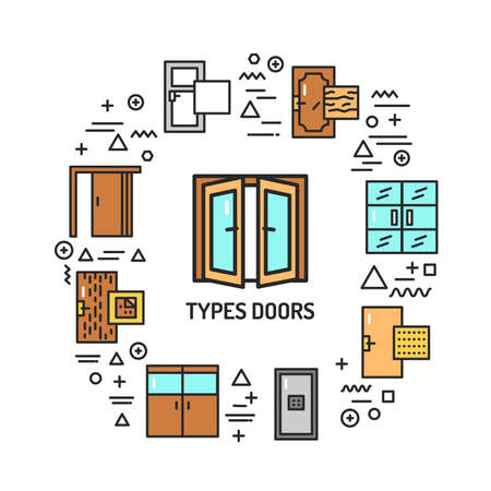 Types doors web banner. Infographics with linear icons on white background. Creative idea concept. Isolated outline color illustration