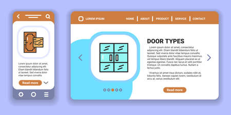 Types doors web banner and mobile app kit. Outline vector illustration. Creative idea concept.