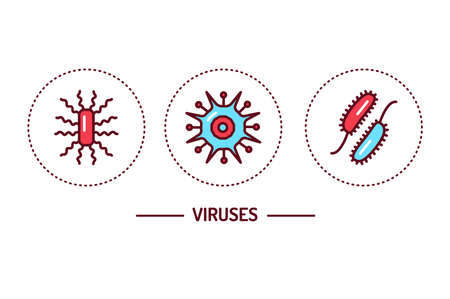 Viruses color line icons concept. Isolated outline color element. Editable stroke.