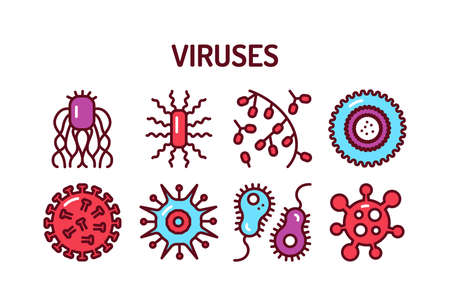 Viruses color line icons set. Isolated outline color element. Editable stroke. Illustration