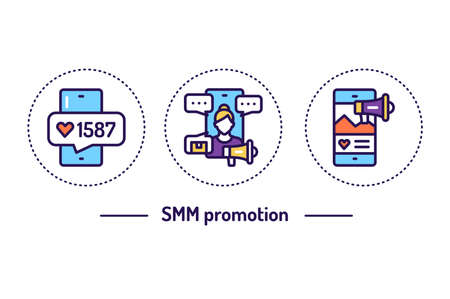 SMM promotion line color icons concept. Isolated vector element