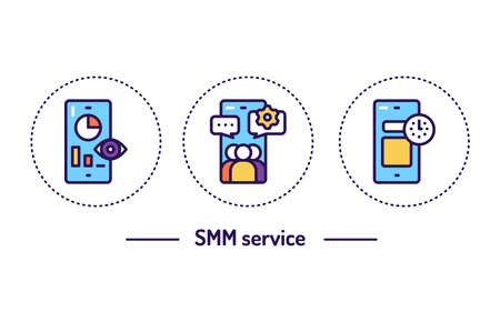 SMM service line color icons concept. Isolated vector element Illustration