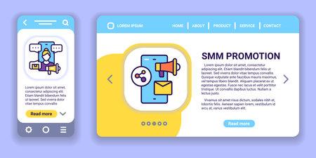 SMM promotion web banner and mobile app kit. Outline vector illustration