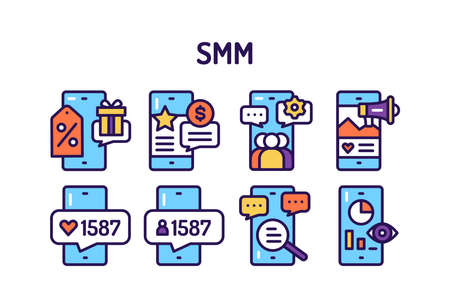 SMM tools promotion line color icons set. Isolated vector element Illustration