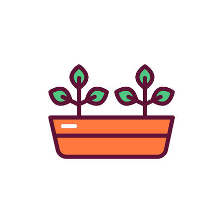 Potted plants line icon. Isolated vector element. Illustration