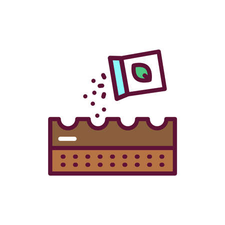 Sowing line icon. Isolated vector element.