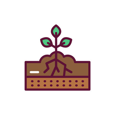 Watering soil line icon. Isolated vector element. Illustration