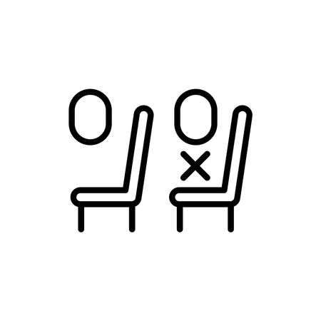 Airplane safety distance line icon. Isolated vector element. Illustration