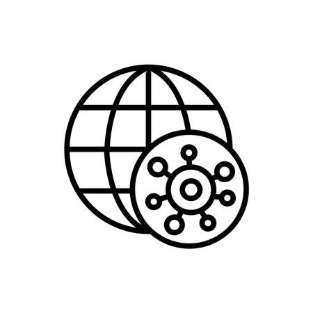 Global epidemic line icon. Isolated vector element.