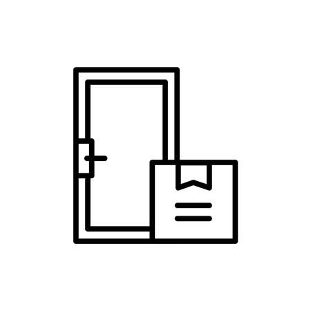 Home delivery line icon. Isolated vector element. Illustration
