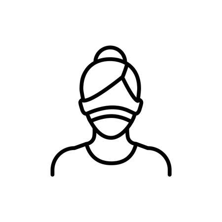 Masked woman color line icon. Isolated vector element. Illustration