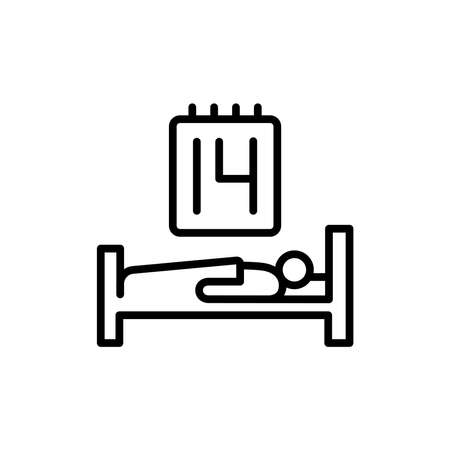 Self-isolation person line icon. Isolated vector element.