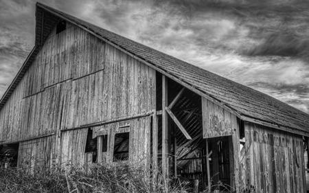 barn black and white: Abandoned Barn, Black and White Image, USA