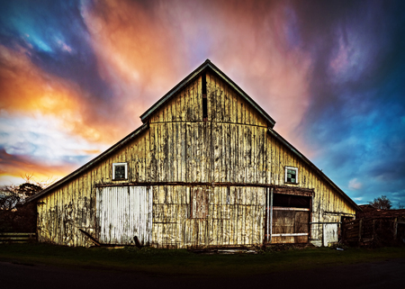 Sunset at an Abandoned Barn, Color Image, Evening, Sunrays