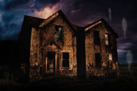 Haunted House with Lightning and Ghosts, Color Image