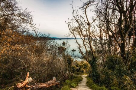 bajando escaleras: Paisaje de playa rocosa con escaleras empinadas bajando, Color, día