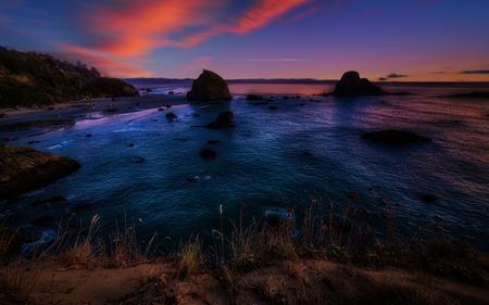 ビーチでカラフルな北カリフォルニア州サンセット 写真素材