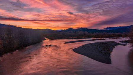 The Mad River, Humboldt County, California, at Sunrise
