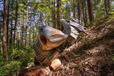 A Rusty and Classic Vehicle in the Forest Stock Photo