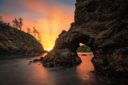Sunset the beach. Northern California, USA