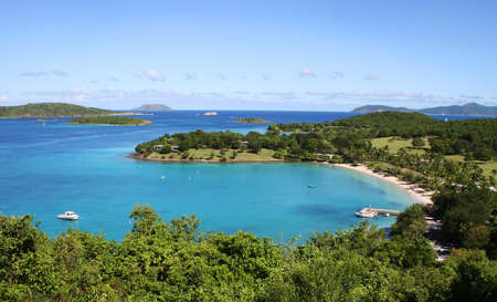 Beach and sea scape of Caneel Bay on the Caribbean island of St John photo