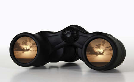 rosy: Abstract view of a rosy sunset future through binocular lenses Stock Photo