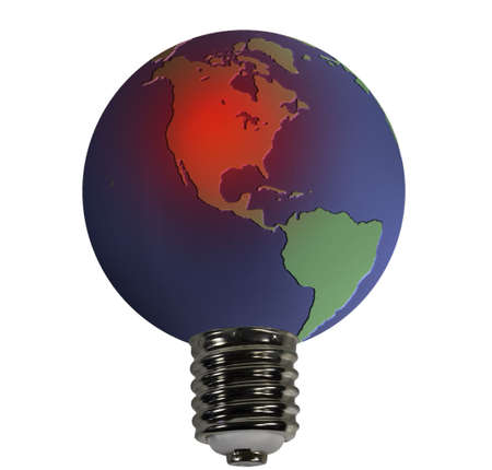 An overheated earth acting as the glass globe of an electric bulb photo