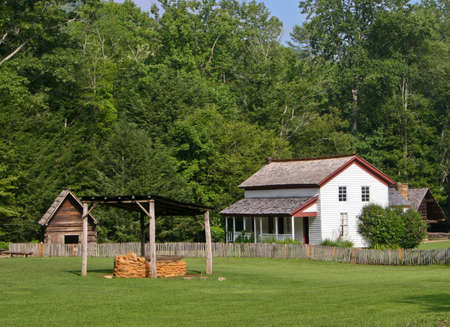 Prosperous farm building and land in Smoky Mountains photo